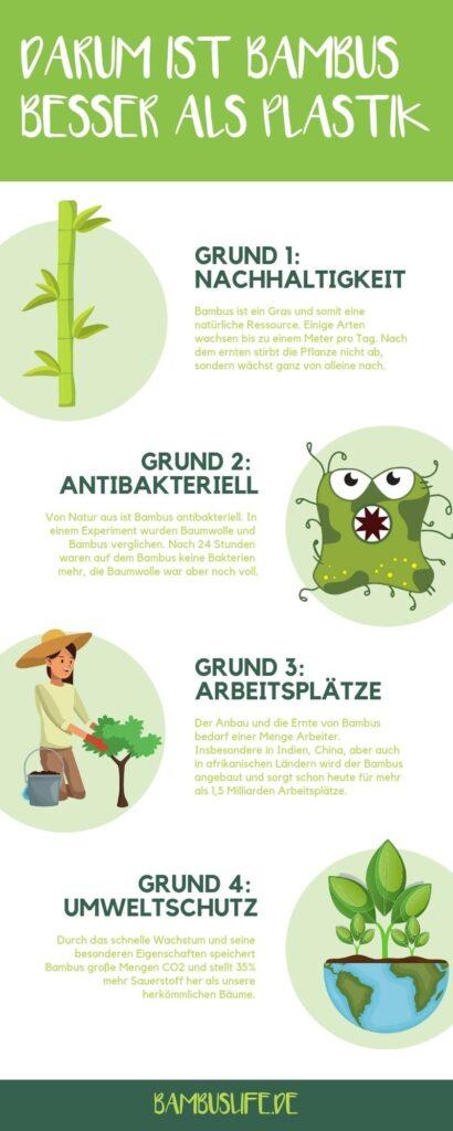 Darum ist Bambus besser als Plastik - Infografik
