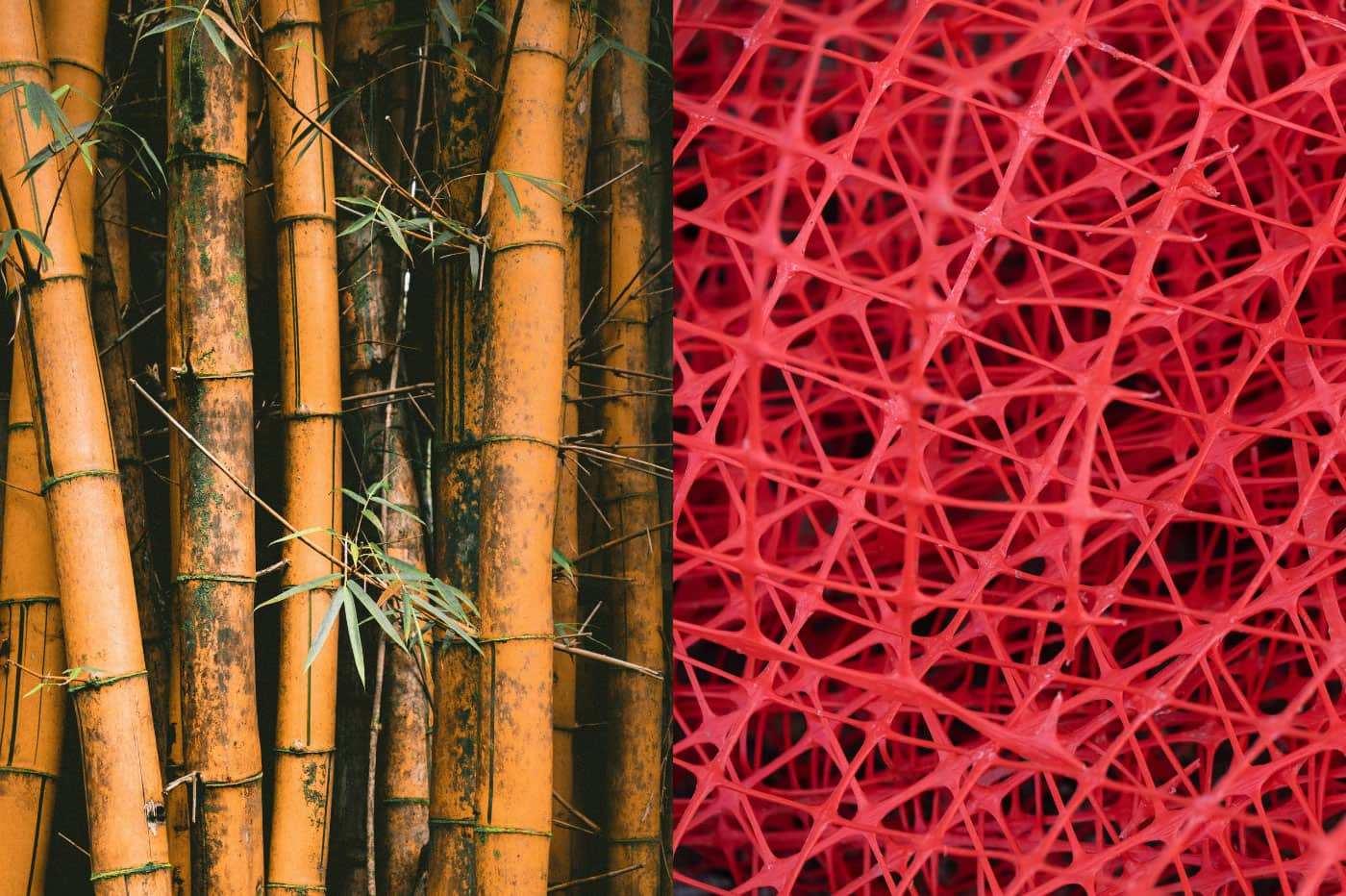 Bambus gegen Plastik - Headbild (links Bambus, rechts Plastik)